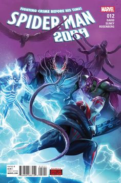 MARVEL COMICS (W) Peter David (A) Will Sliney (CA) Francesco Mattina THE FUTURE LOOKS SINISTER... • Trapped in an unfamiliar 2099, Miguel is reunited with those he loves through an unexpected team-up.
