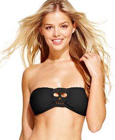 Bikini Lab Embroidered Skull Bandeau Bikini Top