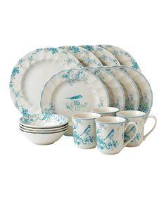 Teal Bird & Foliage 16-Piece Dining Set