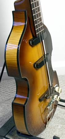 "In 2010, Hofner produced only 58 of these 1958 reissues which were designed by Dieter Fisher. The sunburst finish is Hofner's ""violin varnish"" which allows the texture of the grain to show through, unlike lacquer. This bass has only been played about 4 or 5 times in six years only at home, and since I'm fanatical about guitar care, it's in exactly the same pristine like-new condition as when I first received it. Absolutely no scratches, dings, scuffs or any other problems. It has a straight…"