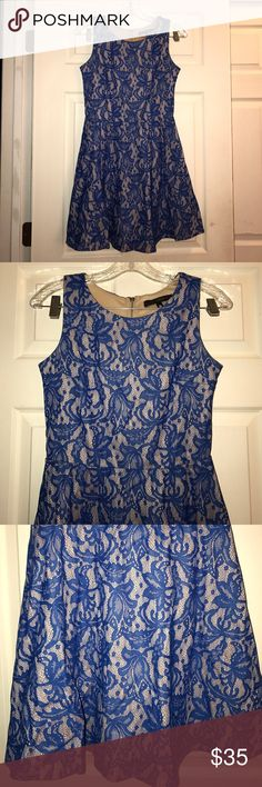 HeartSoul Blue & Beige Lace Dress S Cobalt Blue and beige lace dress. Sleeveless. A-line. Zipper closure. Size S. 100% polyester. Measured across: shoulder to shoulder 11.5in, armpit to armpit 16in, waist 13in, length 33in HeartSoul Dresses