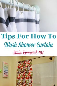 Here is a round up of tips for how to wash shower curtain, or otherwise clean it, especially when it gets really nasty {on Stain Removal 101} #WashShowerCurtain #CleanShowerCurtain #BathroomCleaningTips
