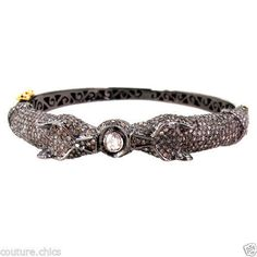 3.28ct Diamond Studded 925 Silver Bangle Bracelet 14k Gold Vintage Style Jewelry…