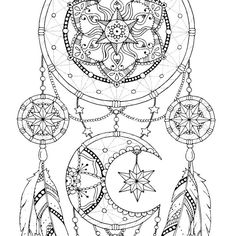Dreamcatcher coloring page for adults Mandala adult coloring