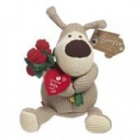 "£8.99 - Boofle Small Plush With Flowers Loveliest Wife  Small 5"" Boofle Plush Toy. Boofle is a snugglesome pup that is loveable and cuddly and a best friend for everyone. Holding 3 roses with a heart shaped tag that says ""Loveliest Wife Ever!"""