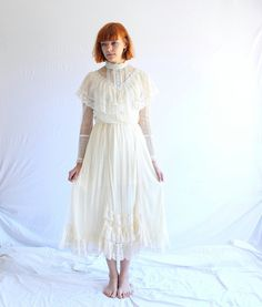 vintage GUNNE SAX lace wedding dress 70s victorian by shopiverlee