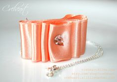 Apricot Satin Ribbon Pendant 925 Silver Sterling Chain by Creheart, €20.00