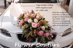 Here is a behind-the-scene look at how flower decoration for a wedding car was created. The objective: to create a Rustic flower arrangement for the front of a white BMW 500 series. 1…