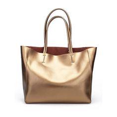 Golden Casual Medium Cowhide Leather Tote (€50) ❤ liked on Polyvore featuring bags, handbags, tote bags, accessories, bolsas, stylewe, beige tote handbags, beige handbags, beige tote and tote purses