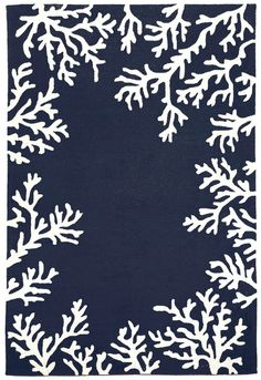 Add sea inspired charm to your beach home with this simple designed Navy Blue Coral Bordered Area Rug, featuring off-white coral branches creating a border around a classic navy blue rug.