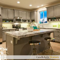 www.CandlelightHomes.com, utah, homebuilder, grey cabinets, kitchen, interior design, granite countertop, silver barstools, stainless steel appliances, can lights, lighting, open shelves