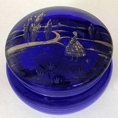 At Remtique on Etsy $55 https://www.etsy.com/listing/101712513/antique-cobalt-blue-glass-jar-scenic