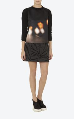 """CARVEN.""""Headlights"""" print jersey and satin sweater, round neck, long sleeves"""