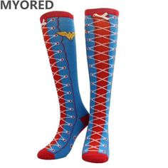 53d56b938 MYORED cartoon superman batman Cape Socks cotton knee high long tube sock  for men women superheroes