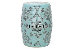 Chloe Ceramic Garden Stool, Aqua/Gray on OneKingsLane.com