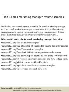 email and marketing and resume experts opinions