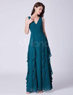 b9a04b5785f8 Abiti da damigella d onore Long Ink Blue Cascading Ruffles Scollo a V  Lunghezza del pavimento Abito da sposa