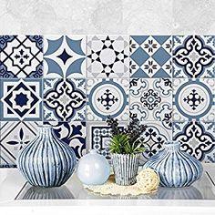 """Fes blu"" Pvc tiles for bathroom tiles and kitchen Ceramic decorations various sizes Fes, Diy Design, Ceramic Decor, Funchal, Home Staging, Decoration, Designer, Decorative Plates, Ceramics"