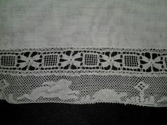 Two lace trims sewn together then attacted to hankie