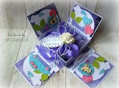 Fioletowe pudełko ślubne - exploding box
