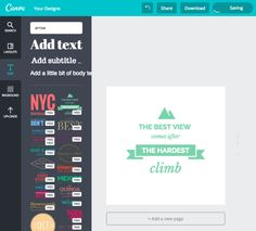 Canva has a ton of pre-designed text options to choose from, as well as photo layouts and textured backgrounds. You don't need to download any app – all of the editing tools are online.