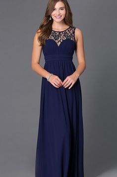 $58.00 Affordable floor length chiffon Navy Bridesmaid Dress. Please check out…