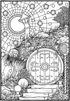 """""""Hobbit Door,"""" from the coloring book, EQUINOX."""