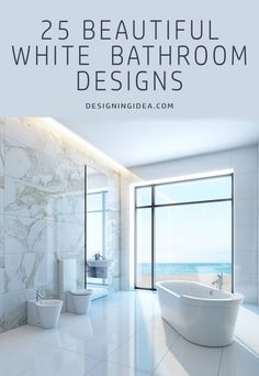 Minimalist bathroom in white with a beautiful ocean view and gorgeous tub.