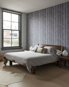 Set in a newly converted former factory in Dumbo, this Brooklyn loft had everything its owners wanted, including a sleek, well-detailed kitchen. Home Bedroom, Master Bedroom, Bedroom Decor, Bedrooms, Brooklyn, Loft Design, House Design, Cole And Son Wallpaper, Interior Architecture