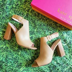 "Kate Spade Ingrada Heels Desert A blogger favorite! Absolutely gorgeous, NWT Kate Spade Ingrada peep- toe heels in a rich, beautiful ""desert"" tan Italian leather. Woodgrain stacked, 3.5"" heel and adjustable ankle strap w/ buckle closure. Ships NIB. kate spade Shoes Heels"