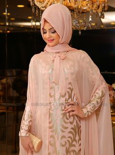 Eylul Evening Dress - Powder - Pinar Sems