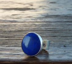 Lapis lazuli ring  sterling silver ring  round blue by anakim, $128.00
