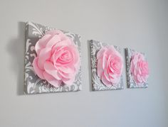 Nursery Decor  Trio Set 12 x 12 Canvases WALL Decor by bedbuggs WOULD DO DIFFERENT BACKGROUND COLORS AND FLOWERS.