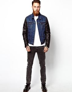 Buy ASOS Denim Jacket With Leather Look Sleeves at ASOS. With free delivery and return options (Ts&Cs apply), online shopping has never been so easy. Get the latest trends with ASOS now. Leather Sleeve Jacket, Fashion Online, Biker, Latest Trends, Overalls, Asos, Denim, Jackets, Photo Blog