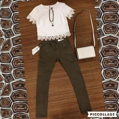 #OOTD Yoana Baraschi appliqué top, Rag&Bone cargo pant, Tory Burch handbag, and VSA necklace. VSA Event in Mequon through Sunday, May 8- The perfect Mother's Day gift! #shopfayes #shoplocal