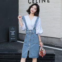 Girl Fashion, Style Fashion, Ulzzang, Korean Fashion, Street Style, Style Inspiration, Shirt Dress, Denim, Girl Style