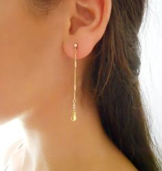 Gold Dangling Drop Earrings - Women's style: Patterns of sustainability Bridesmaid Earrings, Wedding Earrings, Turquoise Earrings, Dangle Earrings, Bridal Accessories, Wedding Jewelry, Wedding Gifts For Women, Copper Jewelry, Jewelry Box