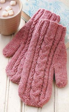 Warm the hands--and hearts--of loved ones with knitted mittens! Cynthia Guggemos makes it easy for you to learn how with truly simple instructions for Basic Mittens. After that, you're ready to knit traditional and fingerless mittens by the dozens! Knitted Mittens Pattern, Knitted Gloves, Knitting Patterns, How To Knit Mittens, Pink Mittens, Wrist Warmers, Hand Warmers, Fingerless Mittens, Crochet Patterns For Beginners