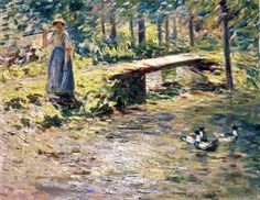 "Oil painting on canvas,""by the brook"",by Theodore Robinson"
