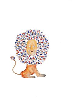 Lion with a mosaic mane! Perfect for the nursery this whimsical watercolour lion illustration is available on my Etsy store - Edie Escargot. Watercolor Lion, Lion Illustration, Illustrations And Posters, Etsy Store, Whimsical, Mosaic, Etsy Seller, My Arts, Nursery