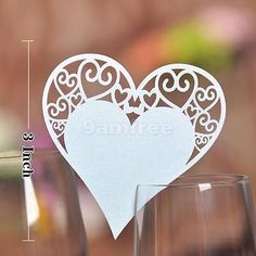 50 Laser Cut Heart Wedding Name Place Cards For Wine Glass Pearlescent Card