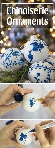 Chinoiserie china has beautiful patterns and classic colors, making them highly collectible and often expensive. Learning how to create your own ornaments with a simple Chinoiserie pattern allows you to get that expensive, collectible look for a fraction of the cost! DIY instructions.