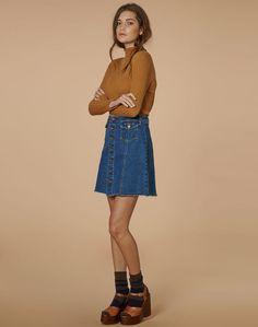 edt. Denim Skirt, WASHED DEEP INDIGO