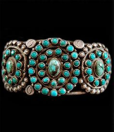 Bracelet | Artist ? (Navajo).  Sterling silver and old Arizona Turquoise.  ca. 1920