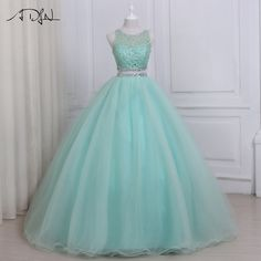 ADLN 2017 Hoge kwaliteit tweedelig Quinceanera jurk O-hals Mouwloos kralen Kristallen Sweet 16 jurken Rits-omhoog Pretty Prom Dresses, 15 Dresses, Ball Dresses, Elegant Dresses, Beautiful Dresses, Pretty Dresses, Ball Gowns, Fashion Dresses, Evening Dresses