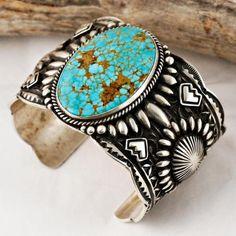 A-DONOVAN-CADMAN-Webbed-Indian-Mt-Turquoise-Bracelet-Sterling-Silver-Navajo