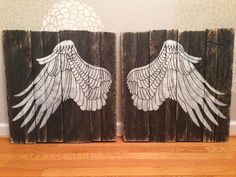 Large Rustic White Angel Wings on Distressed by JMPalletDesign, $109.00
