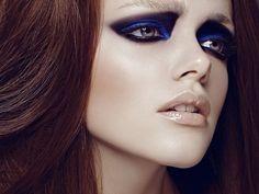 Blue/Black Smokey Eyes. Editorial Makeup.
