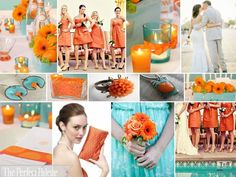 {An Island Wedding}: Aqua, Orange + White