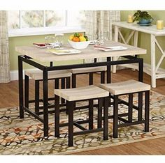 Small Kitchen Table And Chairs Dinette Dining Room 5 Piece Metal Wood Modern #SmallKitchenTable